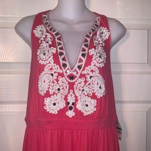 NWT INC Long Maxi Dress Coral White Sz L